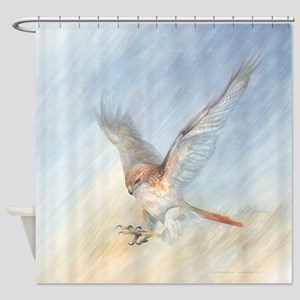 striking red-tail hawk Shower Curtain