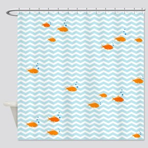 Blue chevron and gold fish Shower Curtain