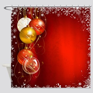 Christmas Ornaments Red Shower Curtain