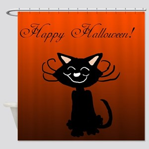 Happy Halloween Black Cat Shower Curtain
