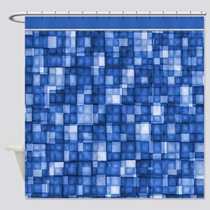 Watercolor Mosaic Tiles Shades of Cobalt Blue Show