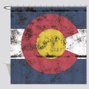 Colorado State Flag distressed deckboard Shower Cu