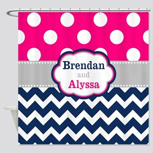 Pink Navy Dots Chevron Personalized Shower Curtain