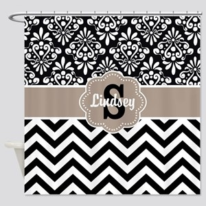 Black Beige Damask Chevron Personalized Shower Cur