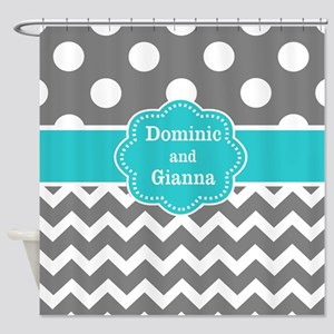 Gray Teal Dots Chevron Personalized Shower Curtain