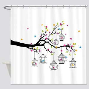 tree branch with birds and birdcages Shower Curtai