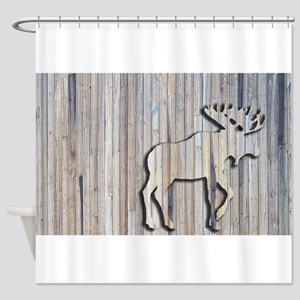 WoodenMooseRug Shower Curtain