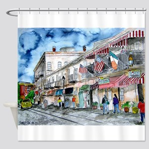 savannah river street painting Shower Curtain