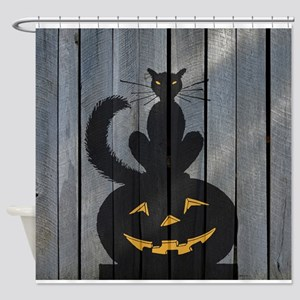 Halloween Black Cat Jackolantern Shower Curtain