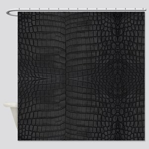 Black Crocodile Leather Pattern Shower Curtain