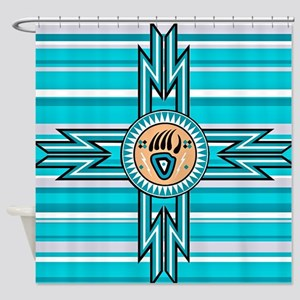 Turquoise Bear Paw - Native America Shower Curtain