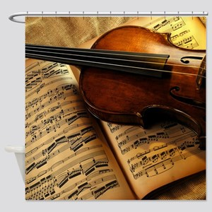 Violin On Music Sheet Shower Curtain
