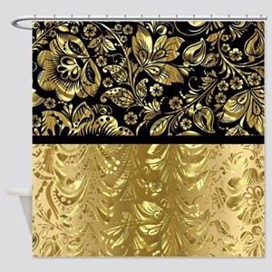 Black and shiny gold print floral d Shower Curtain