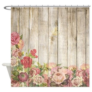 Shower Curtains.Vintage Rustic Romantic Roses Wood Shower Curtain