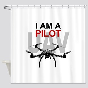 UAV Quadpilot Quadcopter Pilot Shower Curtain