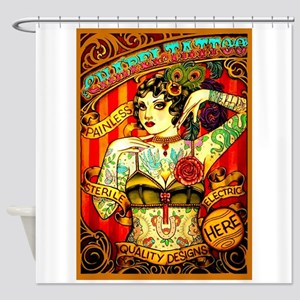 Home Decor Chapel Tattooed Beautiful Lady Shower Curtain