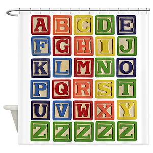 Vintage Alphabet Blocks Shower Curtain
