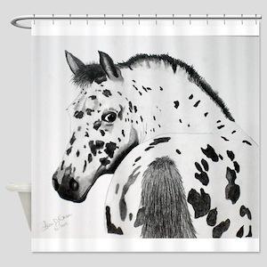 Leopard Appaloosa Colt pencil drawing Shower Curta