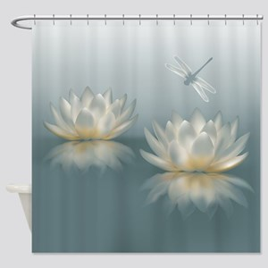 Dragonfly And Lotus Flower Shower Curtains Cafepress