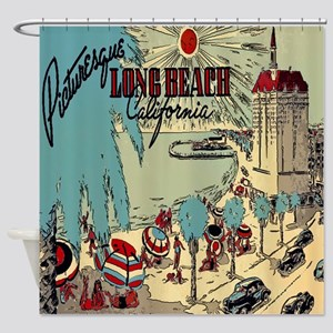Vintage Long Beach California Shower Curtain