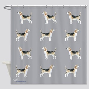 beagles in grey Shower Curtain
