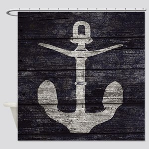 Nautical Navy Blue Wooden Boards Shower Curtain
