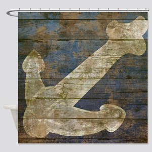 Nautical Wooden Boards Anchor. Shower Curtain