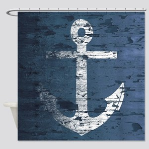 Nautical Wooden Boards Anchor 2 Shower Curtain