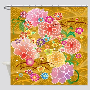 Cute Japanese Floral Kimono Shower Curtain