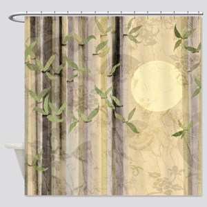 Kimono Bamboo Print Collage Neutral Tones Shower C