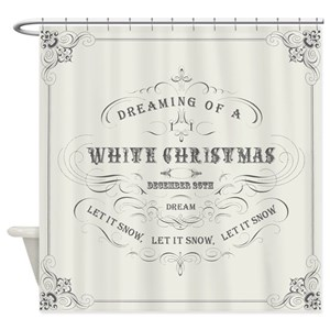 Christmas Shower Curtain.Vintage White Christmas Shower Curtain