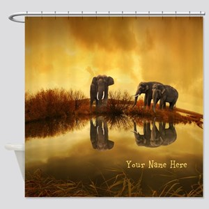 Elephant Custom Name Shower Curtain