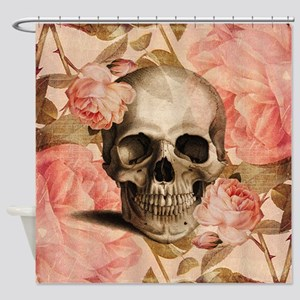 Vintage Rosa Skull Collage Shower Curtain
