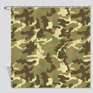 Green Camouflage Pattern Shower Curtain
