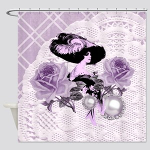 Lovely Lavender Lady Vintage Lace Shower Curtain