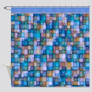 Watercolor Mosaic Tiles Shades of Lavender Blue Sh