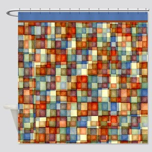 Watercolor Mosaic Tiles Shades of Rust Blue Shower