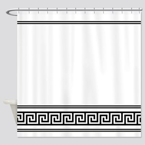 Art Deco Geometric Black and White Shower Curtain