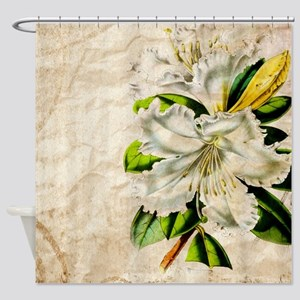 french botanical white lily Shower Curtain