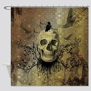 Skull and crow with floral elements Shower Curtain