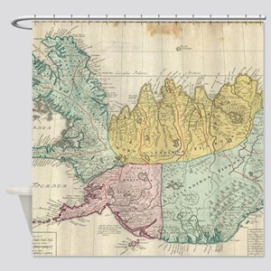 Vintage Map of Iceland (1761) Shower Curtain