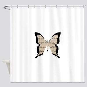 black and sheet music butterly Shower Curtain