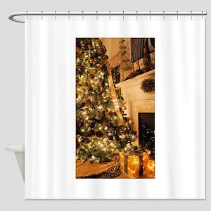 Christmas decor scene golden 2 Shower Curtain