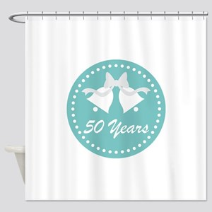 50th Anniversary Wedding Bells Shower Curtain