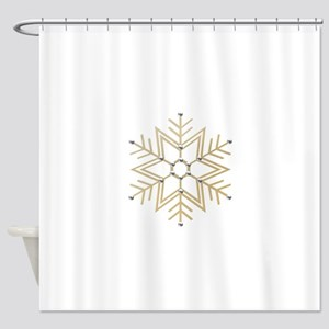 Gold and Silver Snowflake Shower Curtain
