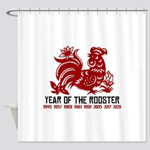 Years of The Rooster Papercut Shower Curtain