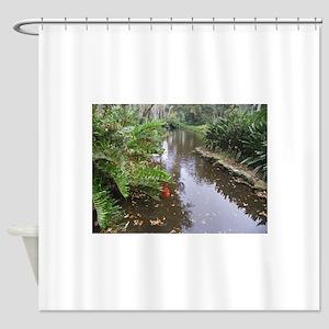 OLD FLORIDA FISH POND Shower Curtain