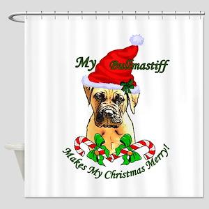 Bullmastiff Christmas Shower Curtain