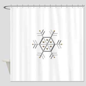 Silver and Gold Snowflake Shower Curtain