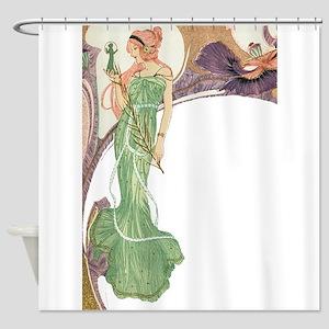 Woman in Green Dress Shower Curtain